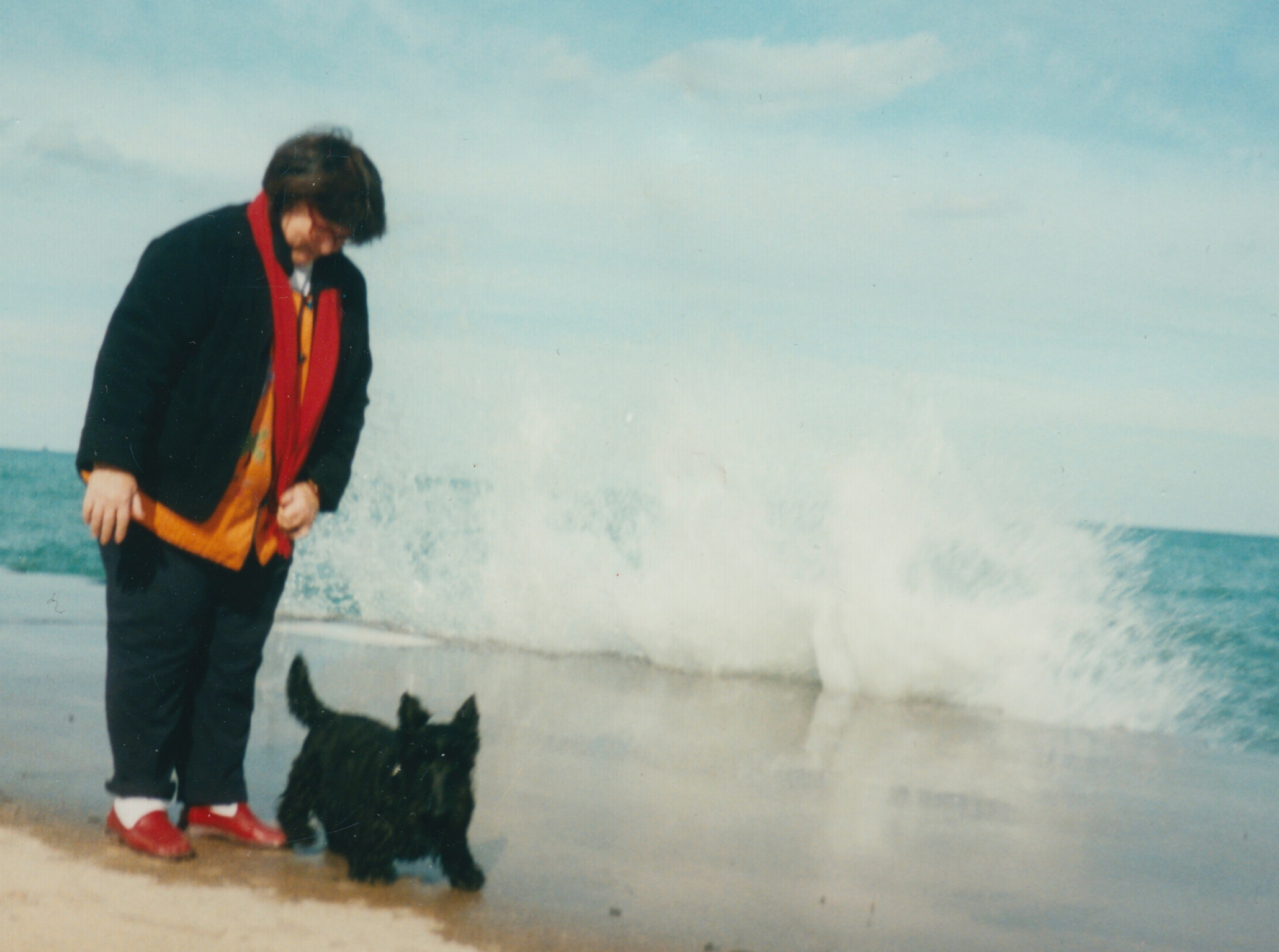 Regan Burke used to love taking her dog, Usher, down to Oak Street Beach for morning walks — until a lifeguard came up to her and told her to get her dog out of the water because of high E. coli levels. (Courtesy Regan Burke)