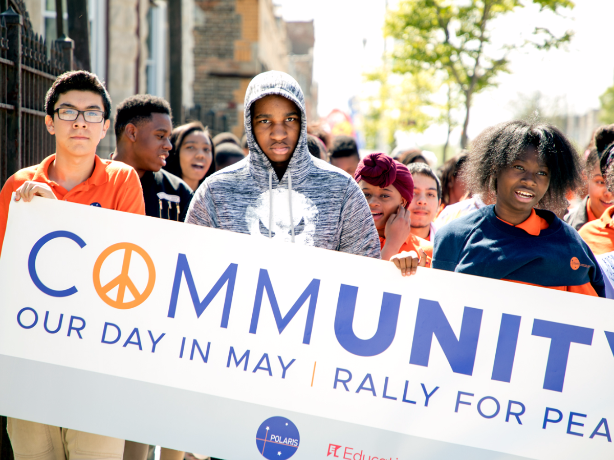 Students at Polaris Charter Academy in Chicago march for peace in West Humboldt Park on May 25, 2017. (Andrew Gill/WBEZ)