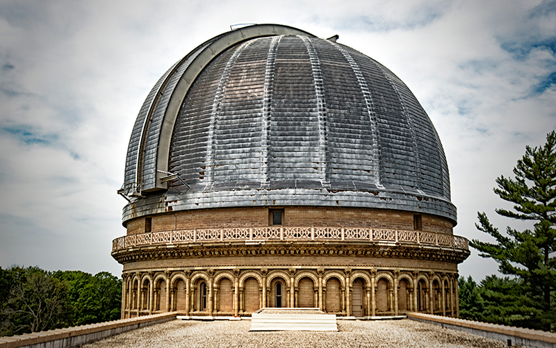 The outside of the Yerkes Observatory features columns and ornate carvings. (Jason Marck/WBEZ)