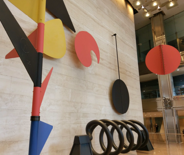 Disassembly of Alexander Calder's 'Universe' in the Willis Tower lobby began Monday. (Ward Miller/Courtesy of Preservation Chicago)