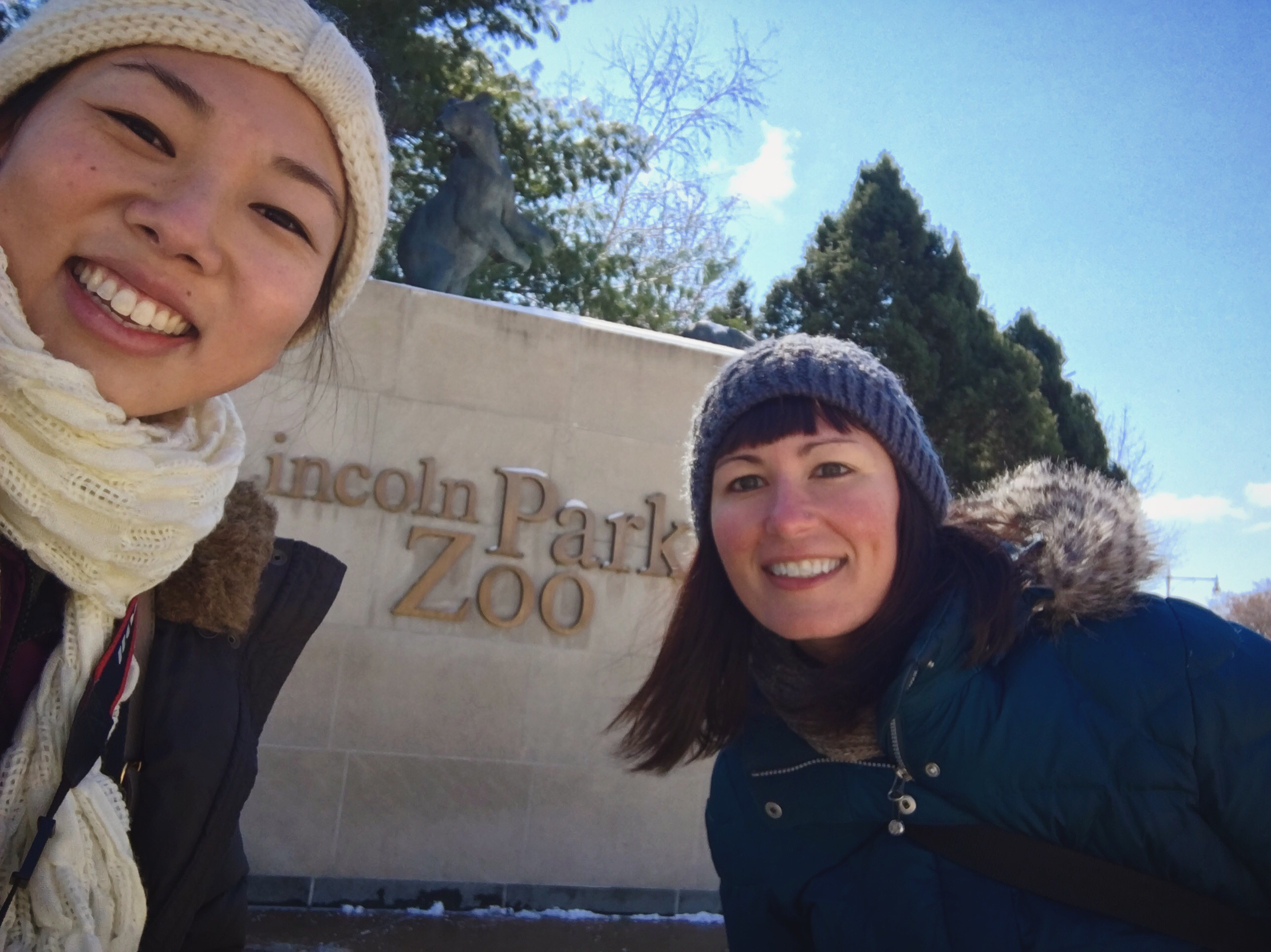 Questioner Stephanie Stump (right) visited Lincoln Park Zoo with Curious City multimedia producer Katherine Nagasawa (left). (WBEZ/Katherine Nagasawa)