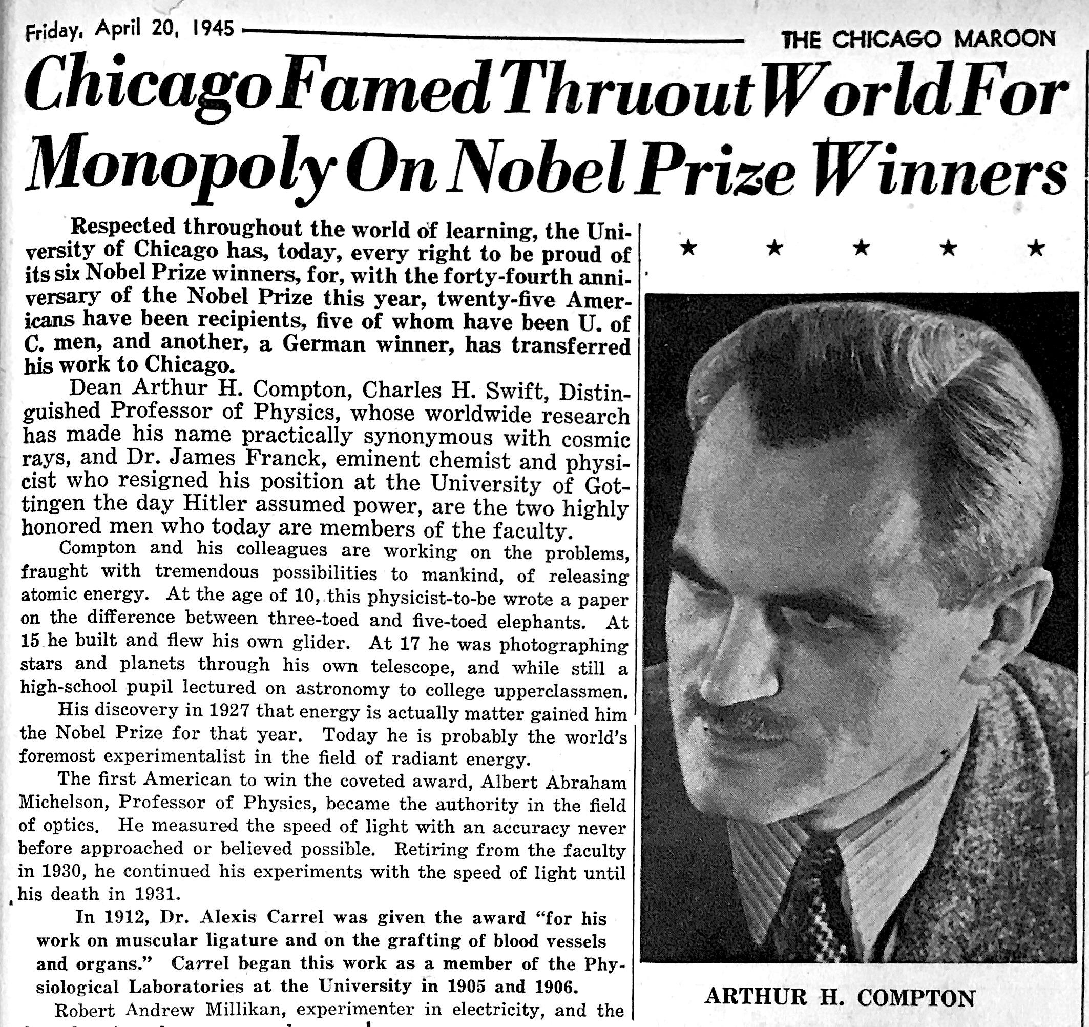 1945 Chicago Maroon Arthur Compton