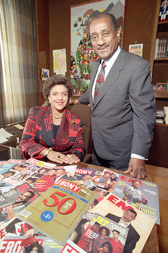 John H. Johnson poses with his daughter, Linda Johnson Rice, in 1992.