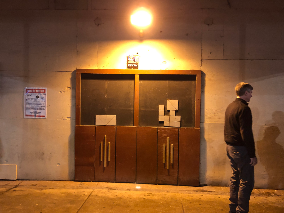 The boarded up front doors at the Broadway entrance. (Carrie Shepherd/WBEZ)