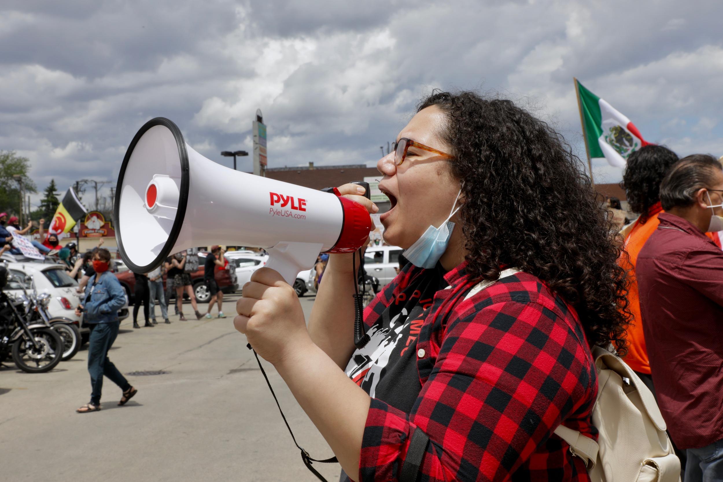 Organizer megaphone Floyd protest