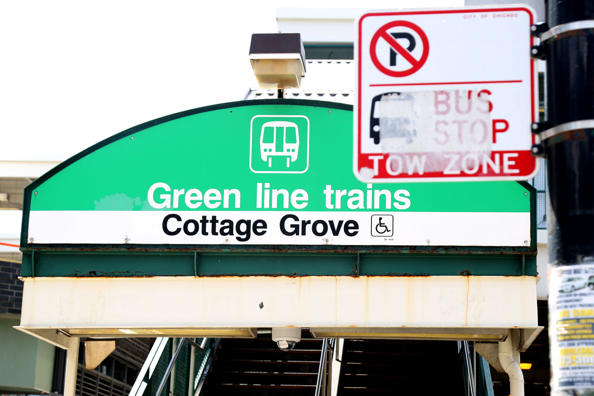 The Green Line station at 63rd Street and Cottage Grove Avenue is the site of one of just two major TOD developments along the Green Line on the city's South Side. Both projects have largely benefited from local and federal government resources as opposed to the millions in private investment that has been leveraged with the TOD ordinance along the Blue Line on the Northwest Side. (Summer Haris/WBEZ)