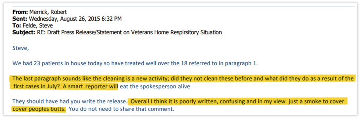 Dr. Robert Merrick's critique of a draft of a press release issued jointly by the state Veterans' Affairs and Public Health departments. (Highlighted by WBEZ)