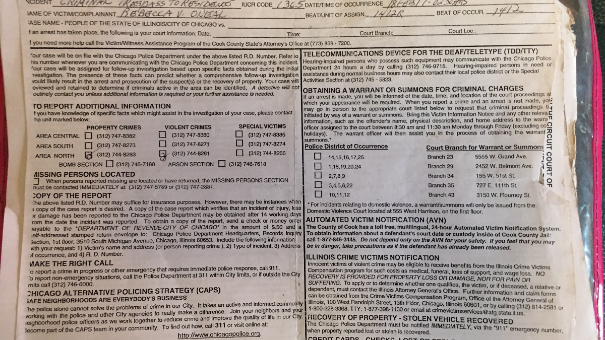 A copy of a police report filed by Rebecca O'Neal against her ex-boyfriend. According to O'Neal, she brought copies of at least five police reports to court to help obtain her order of protection. (Courtesy of Rebecca O'Neal)
