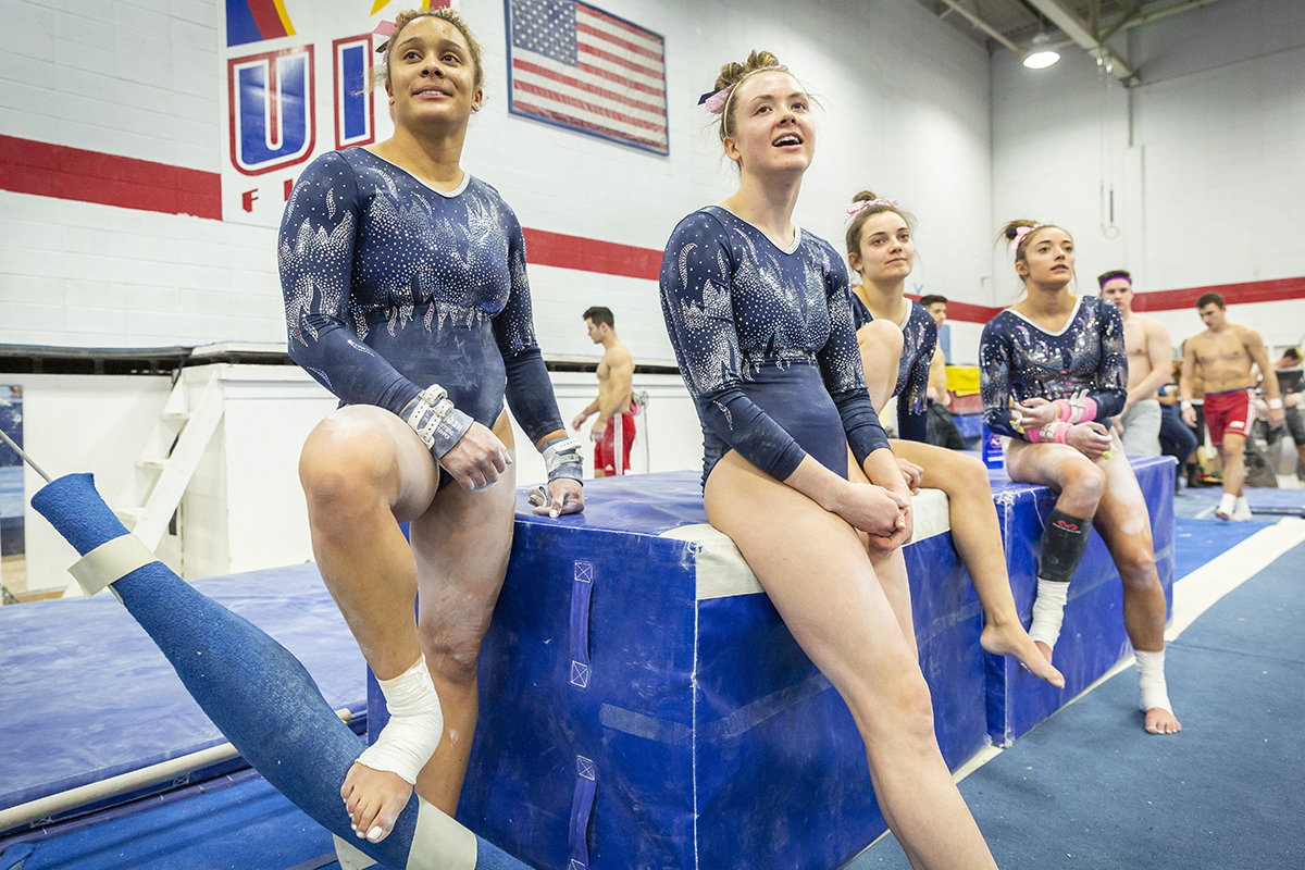 UIC gymnasts from left to right: Miki Northern, Riley Mahoney, Sabrina Tomassini and Tirzah Delph.