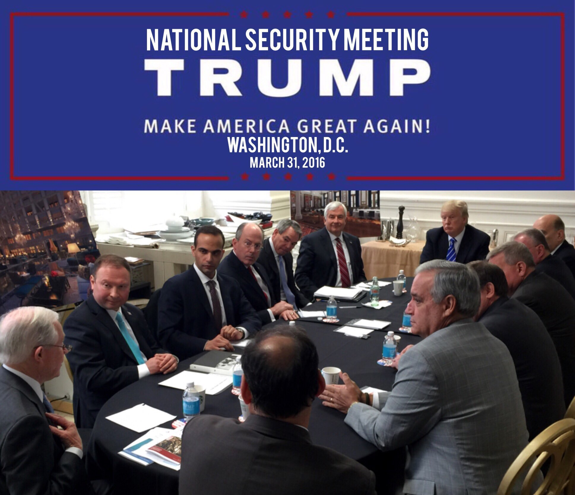 In this photo from President Donald Trump's Twitter account, George Papadopoulos, third from left, sits at a table with then-candidate Trump and others at what is labeled at a national security meeting in Washington that was posted on March 31, 2016.(Donald Trump's Twitter account via AP)