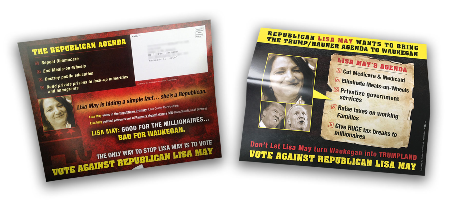 During Waukegan's mayoral race in 2017, political mailers portrayed mayoral candidate Lisa May as a Republican, her picture alongside those of President Donald Trump and Bruce Rauner, the Republican governor at the time.
