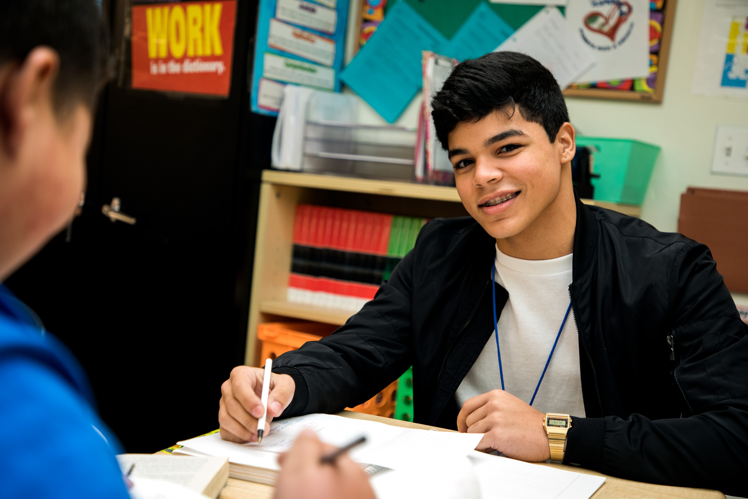 Christian Cartagena came to Chicago from Puerto Rico after Hurricane Maria. He now attends ASPIRA Early College High School on the Northwest Side. (WBEZ/Andrew Gill)