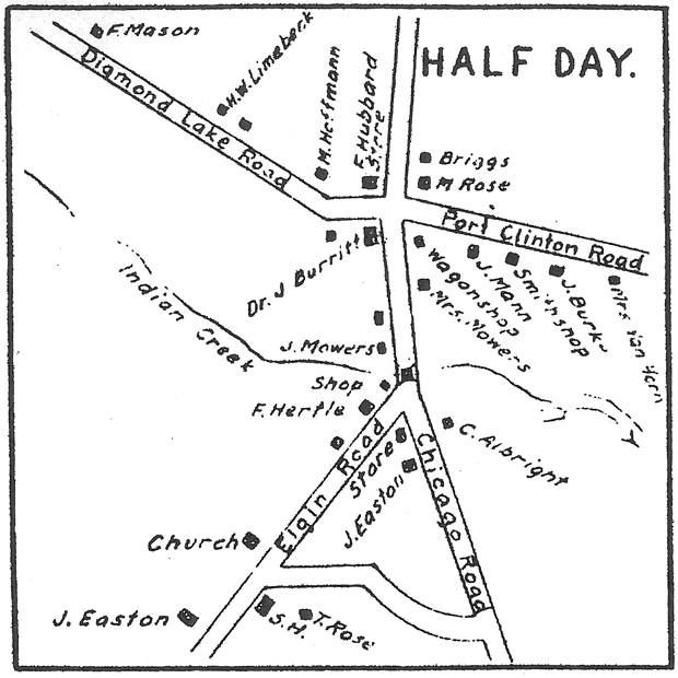A map of the town Half Day in 1861. (Courtesy Lake County Discovery Museum)