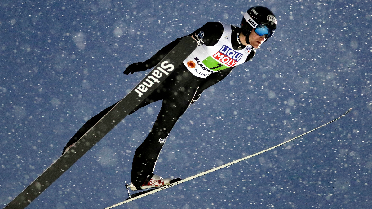 Michael Glasder makes an attempt during the mixed normal hill ski jumping team competition at the 2017 Nordic Skiing World Championships in Finland on Feb. 26, 2017. (AP Photo/Matthias Schrader)