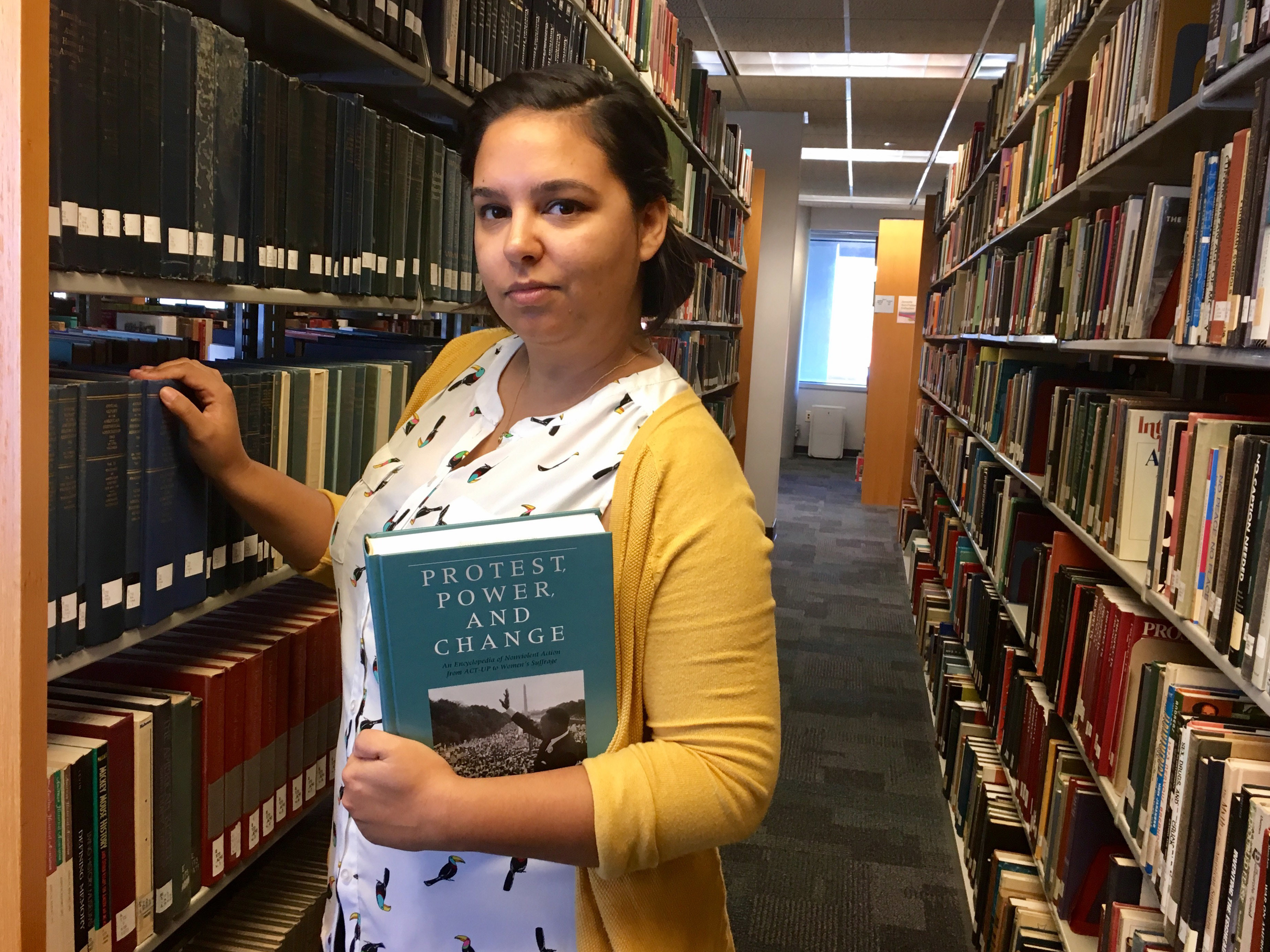Alexandra Flores in the Nelson Poynter Memorial Library on the University of South Florida St. Petersburg campus on July 11, 2017. (Natalie Polson/Associated Press)