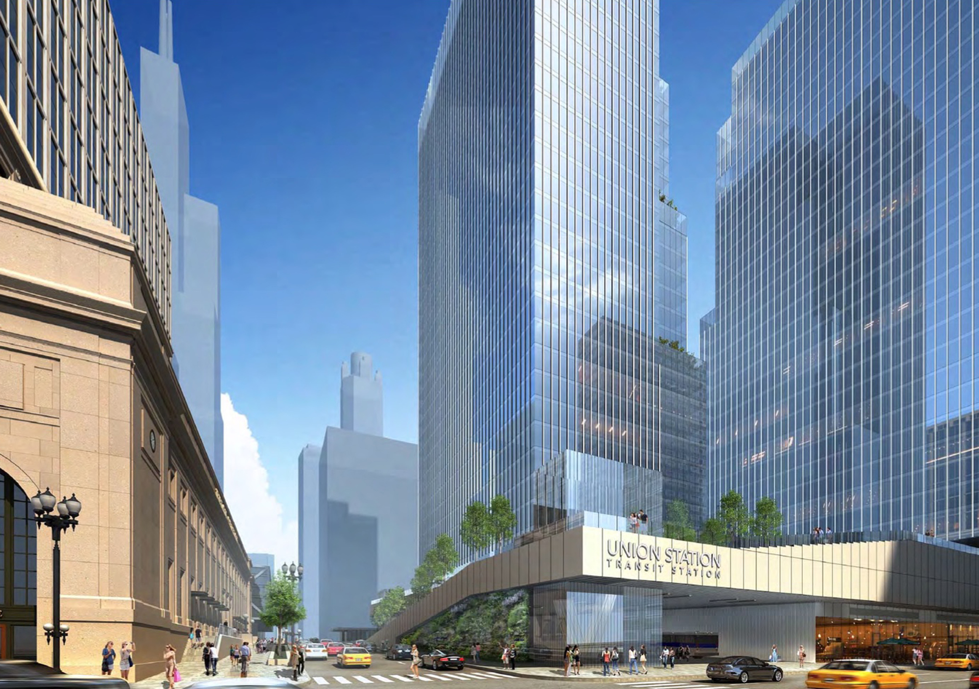 This artist rendering shows a view of the proposed changes to Union Station in Chicago. (Goettsch Partners/Riverside Investment & Development via AP)