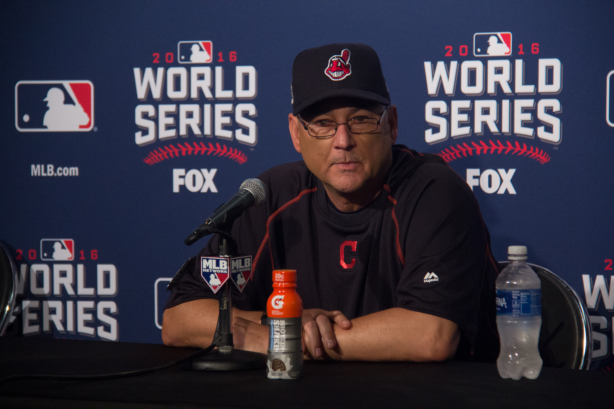 Cleveland manager Terry Francona answers questions from reporters after winning Game 3 of the World Series. Andrew Gill/WBEZ.