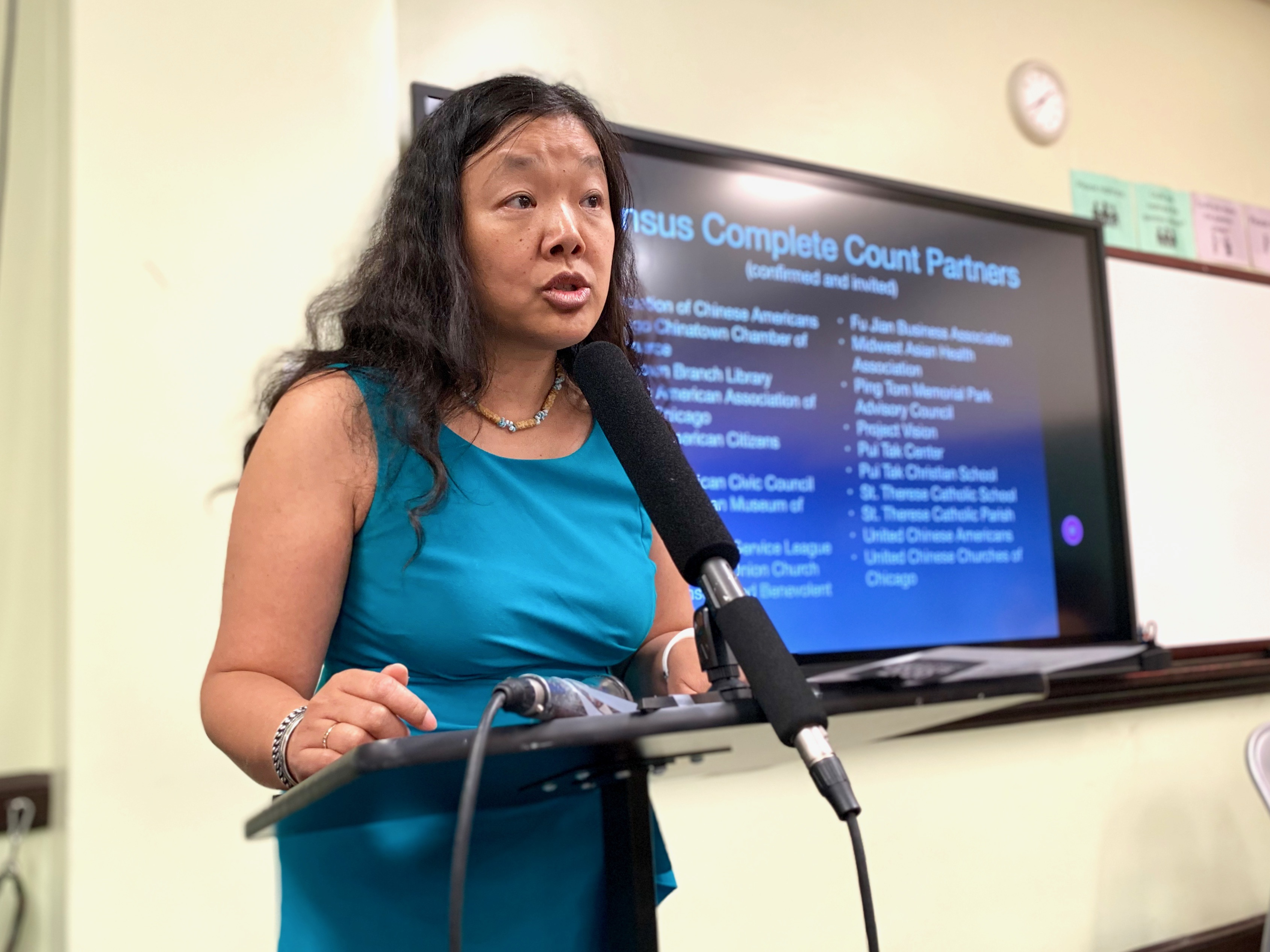Coalition for a Better Chinese American Community Executive Director Grace Chan McKibben discusses the census outreach strategy at a news conference on July 23, 2019.