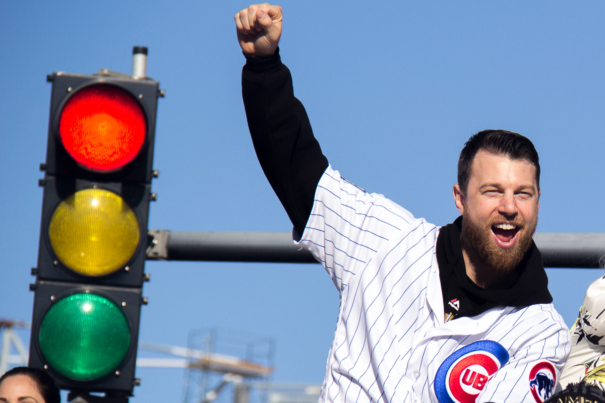 Cubs outfielder Ben Zobrist celebrates with the city during the team's championship parade Friday. (Andrew Gill/WBEZ)