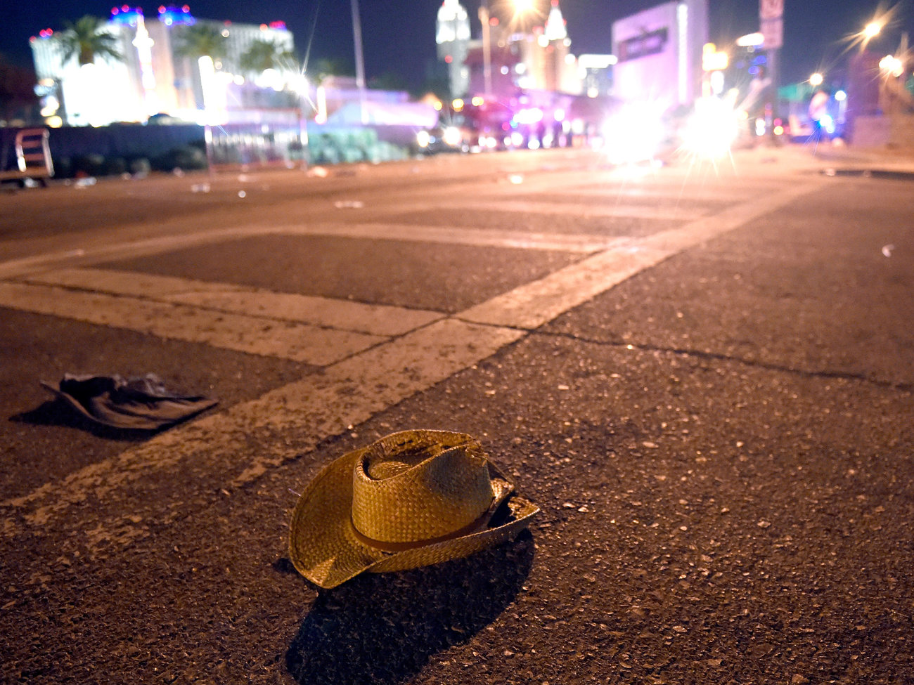 A cowboy hat lies in the street in Las Vegas. The Route 91 Harvest music festival ended in violence and chaos as thousands of people sought to escape an attack from above that they couldn't see. (David Becker/Getty Images)