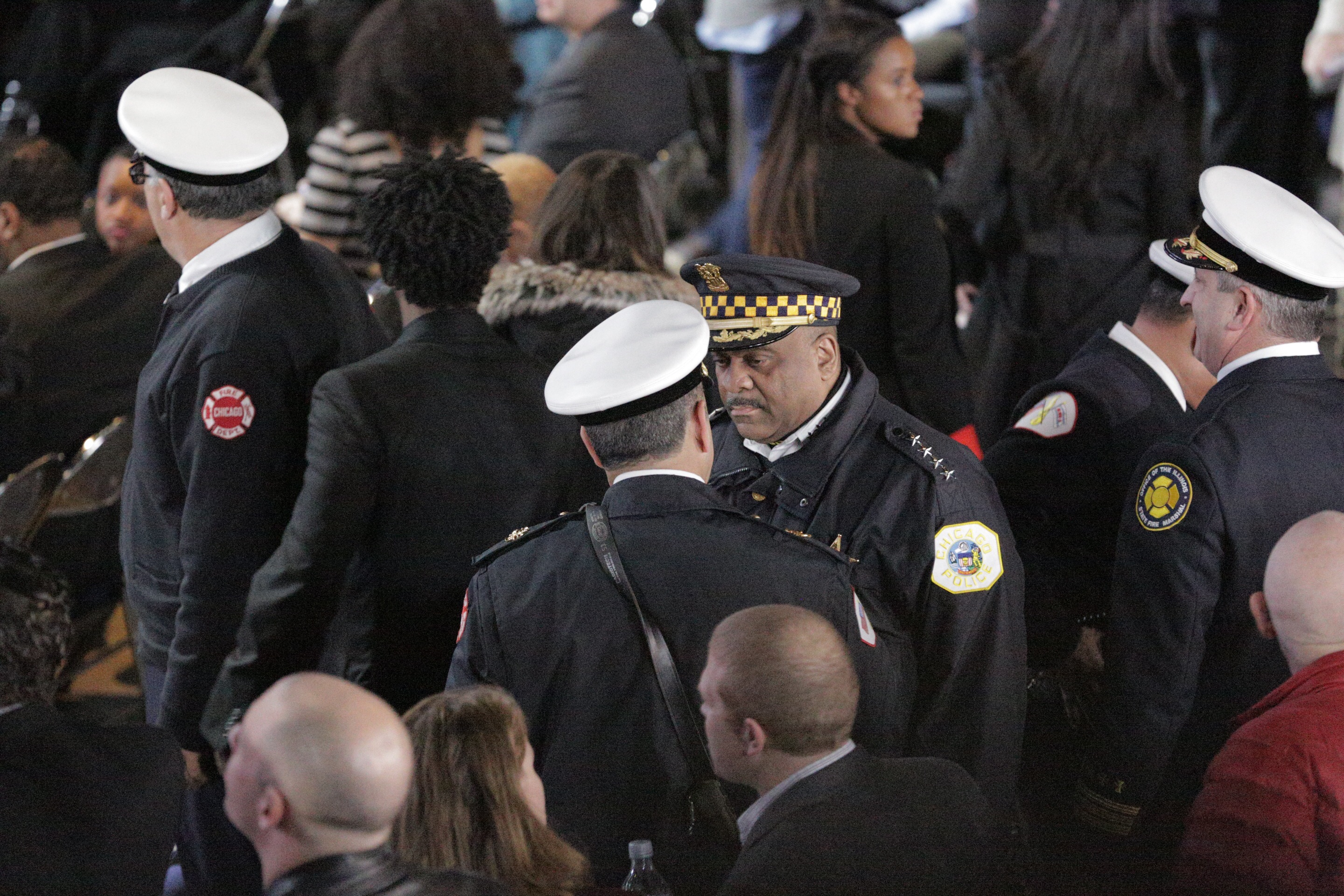 Chicago Police Supt. Eddie Johnson at President Barack Obama's farewell speech Tuesday at McCormick Place in Chicago. (Andrew Gill/WBEZ)