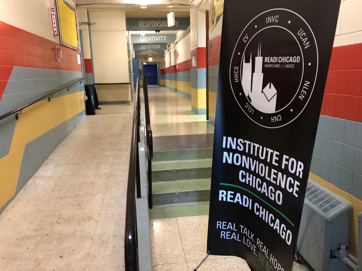 On the West Side of Chicago, READI partners with the Institute for Nonviolence to connect with at-risk men and provide services. The center for that work is in a closed school in the Austin community.