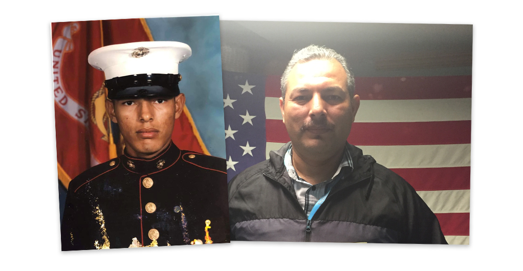 Jack Aviles during his time in the military and today
