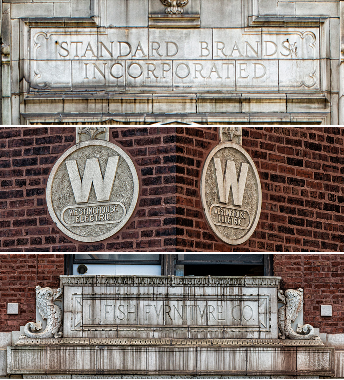 Terra cotta details hint at the businesses that formerly occupied these spaces. (Jason Marck/WBEZ)