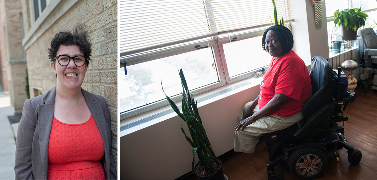 Mitzi Terry (right) lives in a high-rise in Hyde Park. When the building singled out her wheelchair for tracking in snow in the winter, she got in contact with Mary Rosenberg (left), an attorney who helped her file a complaint with HUD. (Bill Healy/WBEZ)