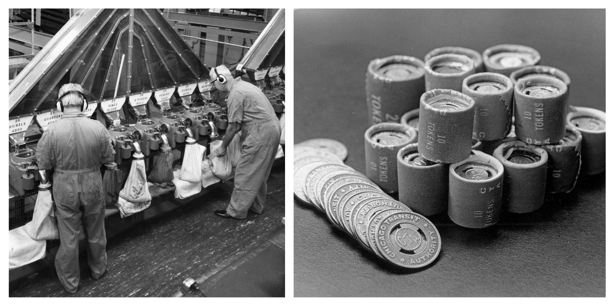 After used tokens were collected, they were counted before being recirculated (left). Tokens were frequently purchased in lots of 10 or 20 (right), which offered buyers a discount. (Courtesy Chicago Transit Authority)