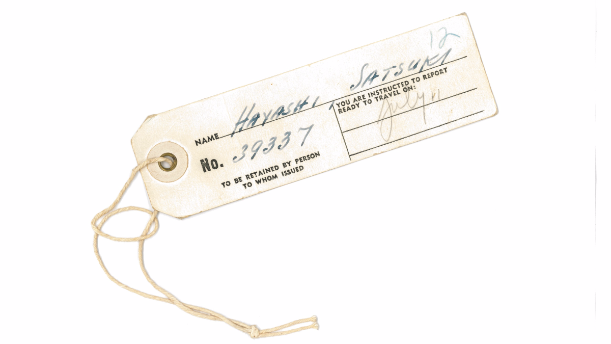 Those living at the internment camp were required to wear identification tags like this one. (Courtesy of Jean Mishima)