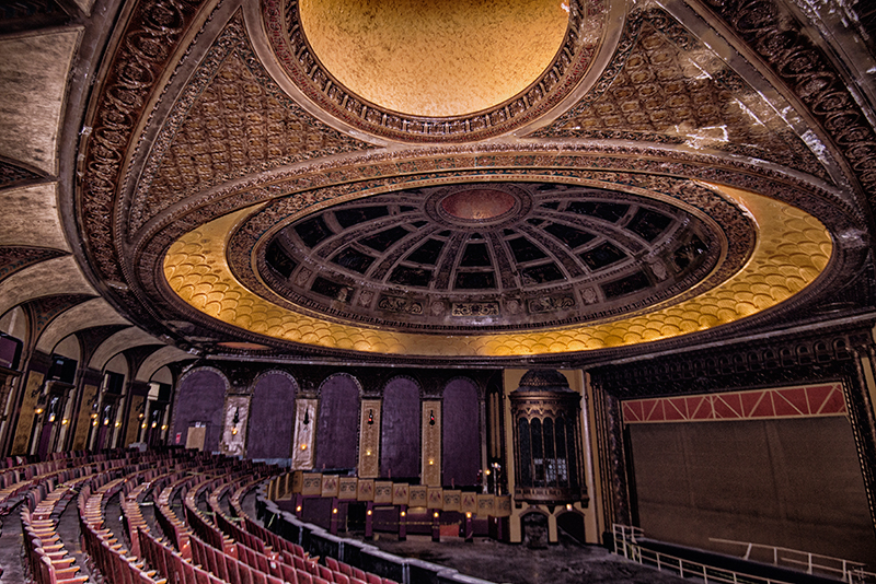 The stage of the Congress Theater as seen from the balcony on July 2, 2018. (Jason Marck / WBEZ)
