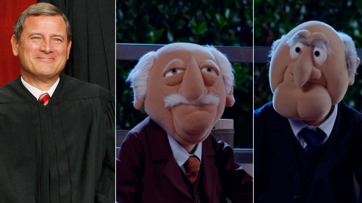 Dahlia Lithwick says John Roberts is some combination of Statler and Waldorf. (Charles Dharapak/AP, Screenshot from YouTube/Disney/The Muppets)