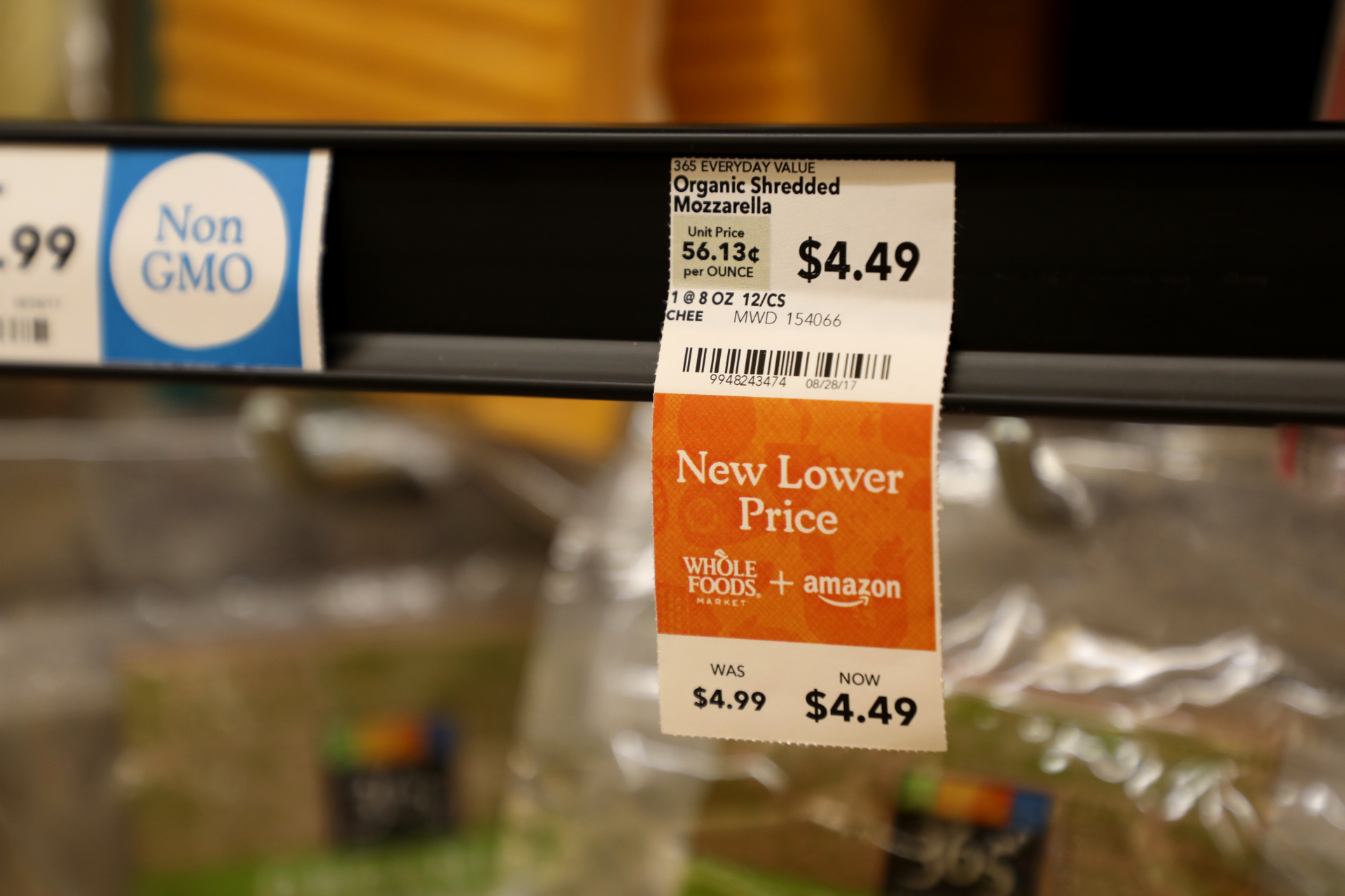 The prize of organic shredded mozzarella cheese also dropped a few cents after Amazon bought Whole Foods. (Andrew Gill/WBEZ)