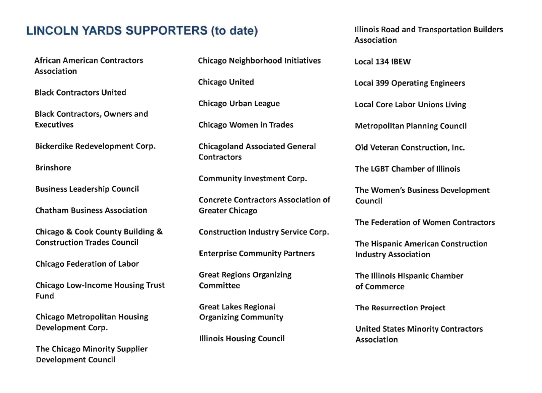 Lincoln Yards incorrect list of supporters